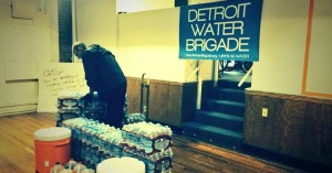 One of the many community water stations that have emerged in response to the ongoing crisis in Detroit.